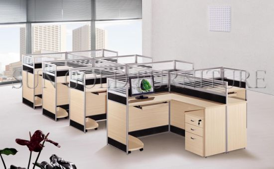 Tipical Wooden 6 Seats Office Cubicles with Alumnium Frame (SZ-WS310) pictures & photos