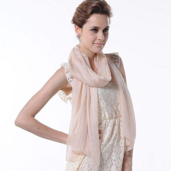 New Fashion Design Woman Pure Color Scarf Natural Silk Accessories