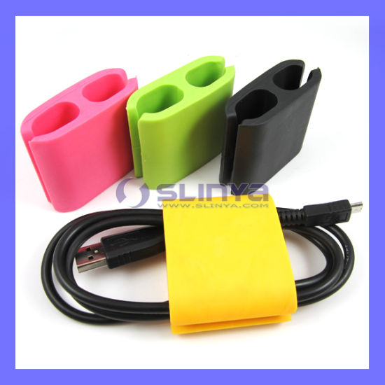 Hot Selling Colorful Portable TPR Three Size Earphone Wire Management Cable Clips pictures & photos