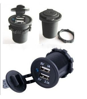Universal Motorcycle Waterproof Power Outlet Adapter Dual USB 5V/3.1A Charger with Car Mount Holder Bracket