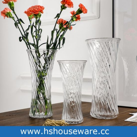China Clear Diagonal Stripes Glass Vase For Lucky Bamboorose