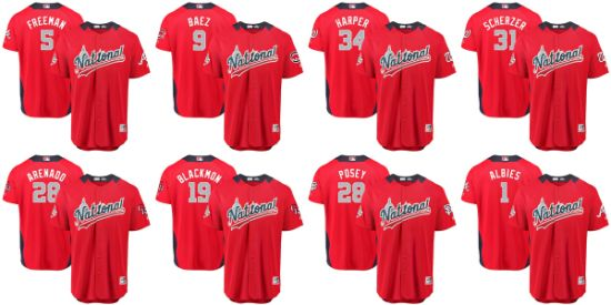 9ad900651fd National League Majestic 2018 MLB All-Star Game Scarlet Team Baseball Jersey