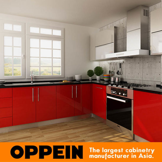 Modern L Shaped Red Hpl Project Wood Kitchen Cabinets Op14 Hpl01
