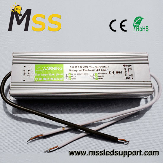 DC12V/24V/5V Waterproof IP67 100W LED Power Supply with Ce RoHS