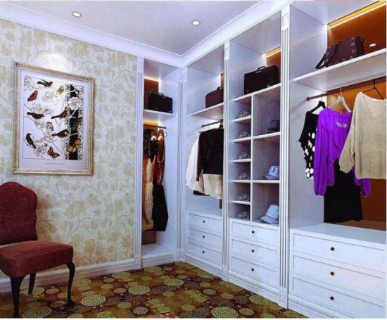 White European Walk in Closet Wood Wardrobe (W3011)