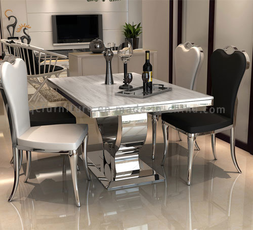 New Design 6 Seaters Modern Marble Top Metal Base Dining Table Set