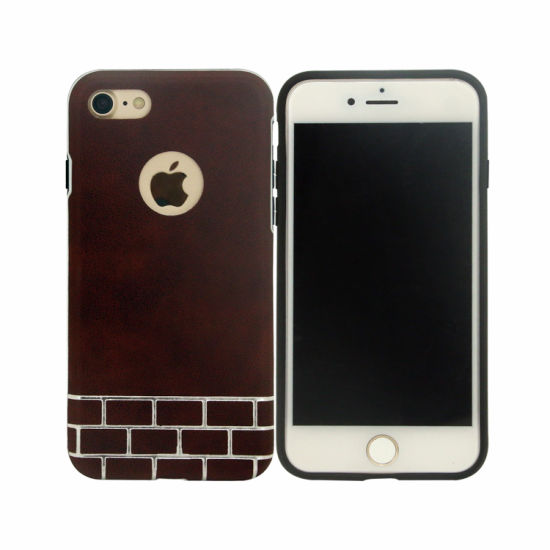 [Hot Item] Combo PU Hybrid Protective Mobile Phone Brown Case for iPhone 8