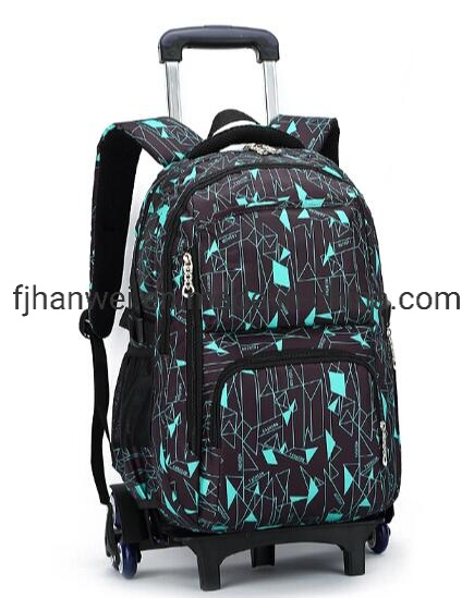 Wholesale Chinese Popular Printing Detachable Rolling Wheeled Polyester Heavy Duty Trolley Students' School Bag Rolling Bag Trolley Bag Wheeled Bag