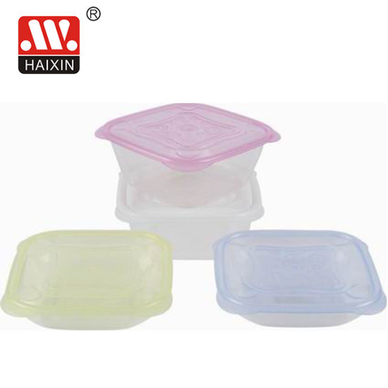Square Microwave Clear PP Plastic Food Container with Lid 1000ml Box
