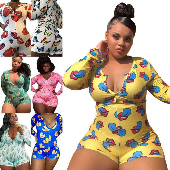 Plus Size Night Sleepwear Garment Adult Onesie Romper Pajamas Women