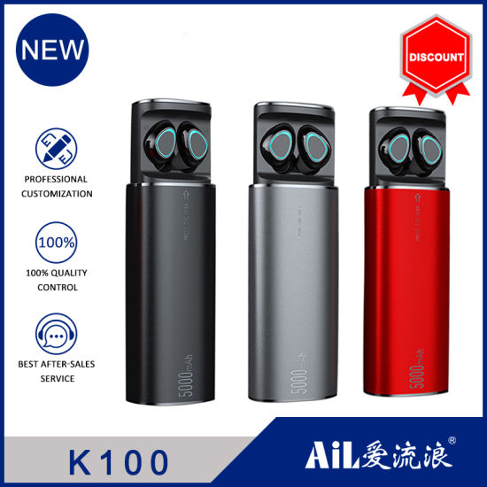 2021 New Metal 5000mAh Power Bank with Tws Wireless Earbuds