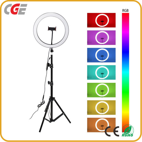 10 Inch RGB Dimmable LED Selfie Ring Light Studio Photography Photo Makeup Ring Fill Light for Smartphone