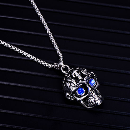 New fashion gold personality skull crystal diomand wedding party charm necklace
