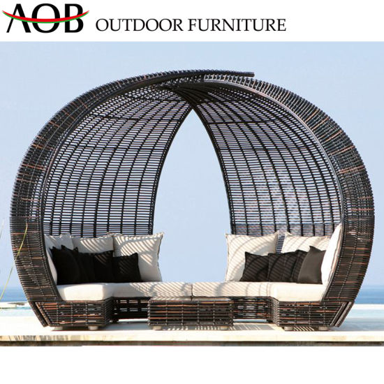 Modern Outdoor Garden Hotel Backyard Poolside Lounge Wicker Rattan Furniture Beach Bed Daybed Sunbed
