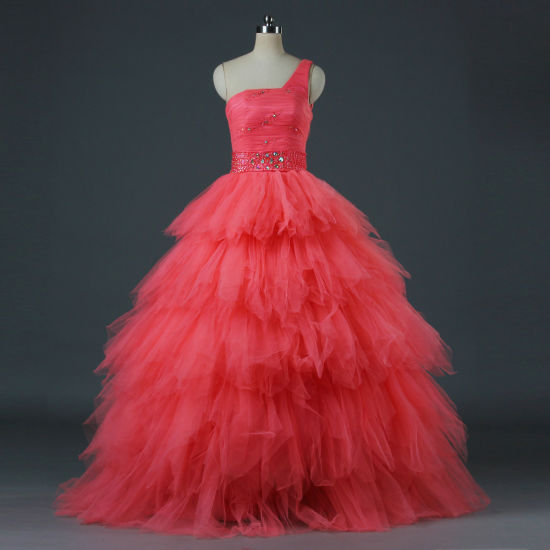 495fe3c8e3 Modest Beaded Coral Pink Tulle One Shoulder Ball Gown Prom Evening Dresses  Wedding Party Dress for Women