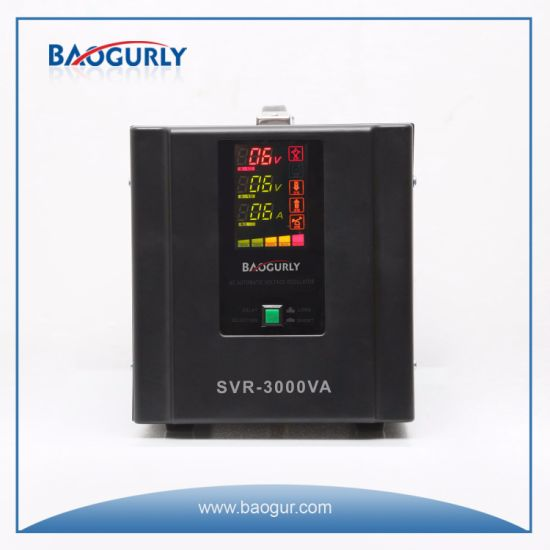 Single Phase Graphic LED Display SVR-3000va Relay Type Voltage Stabilizer