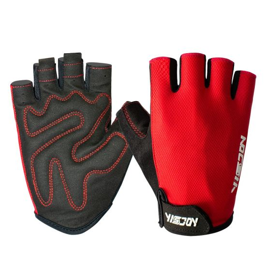 Road Mountain Bike Eigo Fingerless Sports Cycling Gloves Red Mitts