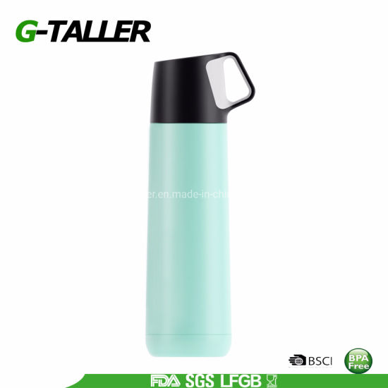 BPA Free 500ml Stainless Steel Sport Drink Water Flask with Cup Lid