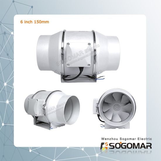 Plastic Mixed Flow Inline Duct Fan 6'' 150mm 220-240VAC 50Hz
