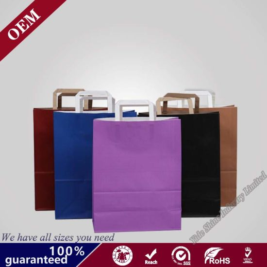 Flat Paper Handles Bags Packaging Shopping Paper Bags