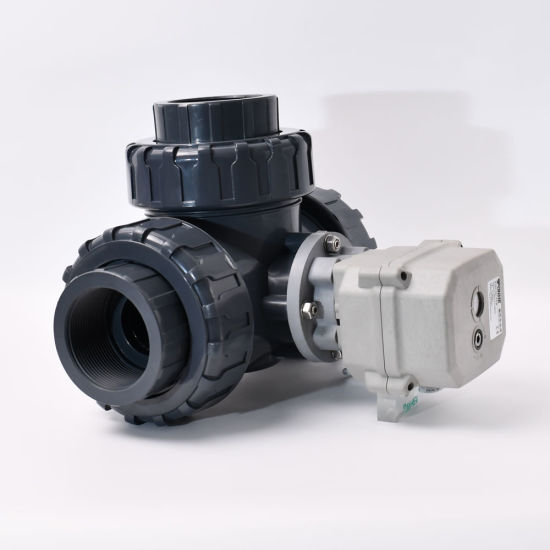 DN50 2 Inch Irrigation Water Electric PVC UPVC Double Union 3 Way Motorized Ball Valve