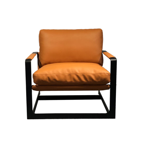 Fashion Living Room Metal Chairs PU Leather Sofa Chair Modern Armchair