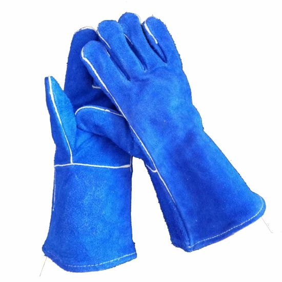 14 Inch Cow Split Leather Gauntlet Heat Protection Construction Welding Work Hand Gloves pictures & photos