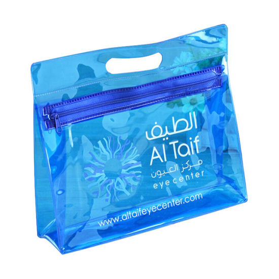 Custom Clear Blue PVC Zipper Toiletry Cosmetic Makeup Pouch Available for Personalize