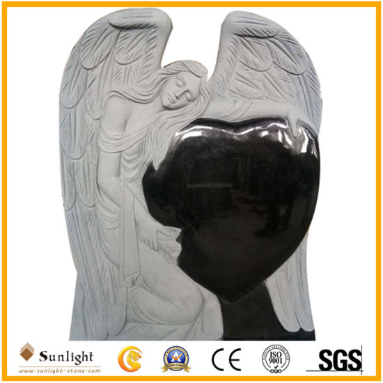 Custom India Black Granite Monument Headstone Tombstone (With Carving Angel)
