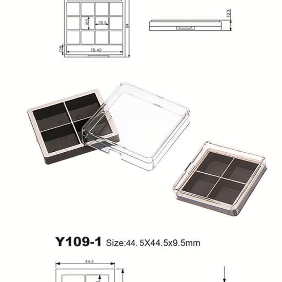 Unique Shape 4 Color Plastic Eye Shadow Palette Case Compact Box Cosmetic Packaging Y109-1