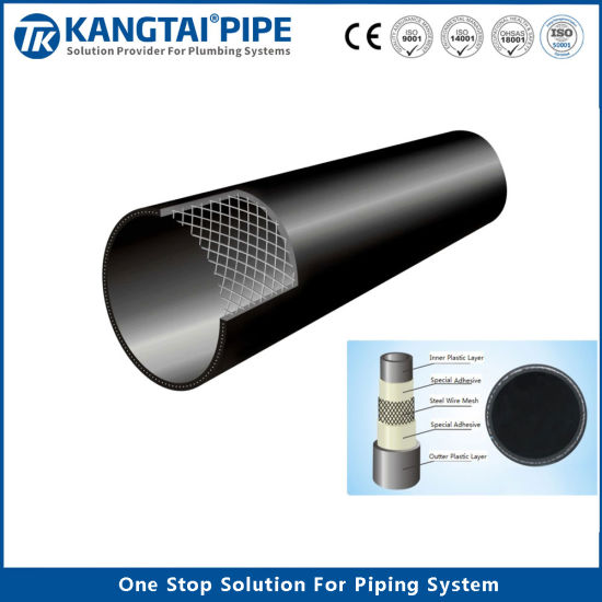 Strength PE Steel-Wire Mesh Reinforced Composited Pipe Pn35 DN50 to DN800mm