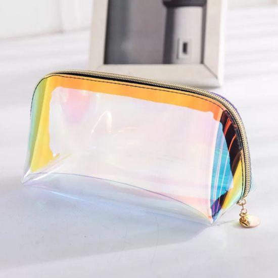 Hot-Sale TPU Laser Makeup Bag Storage Bags Transparent Cosmetic Bag Customised