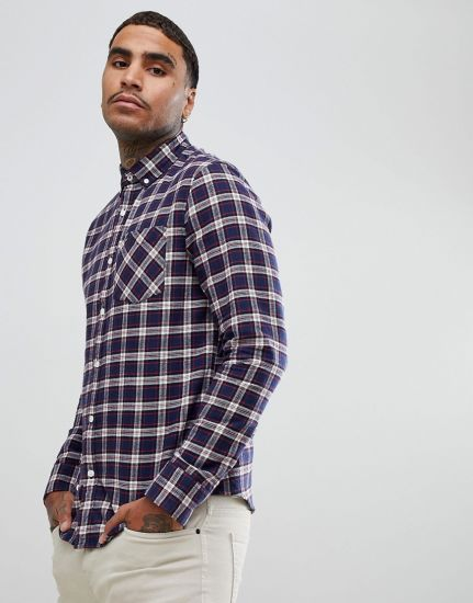 OEM Men's 100% Cotton Casual Flannel Plaid Shirt