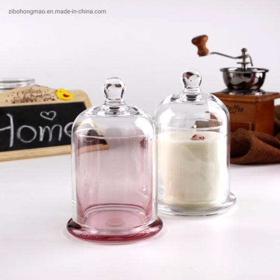 2020 Popular Clear Pink Colored Glass Candle Jar Glass Candle Container with Lids