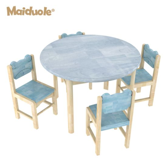 Pine Wood Colorful Kindergarten Kids Study Table and Chairs for Classroom