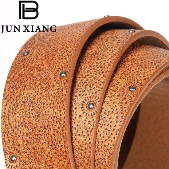 Fashion Women's PU Embossed Belt with Rivits