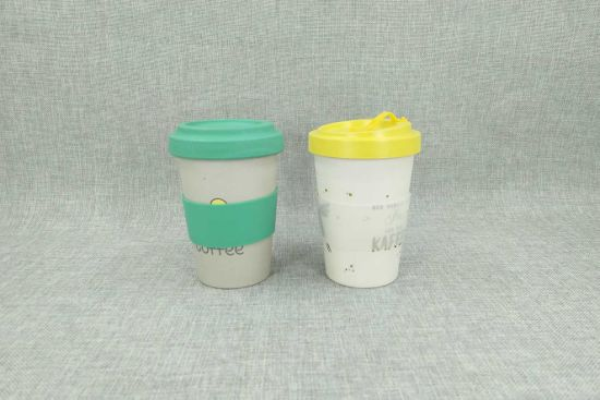 Custom Printed Bamboo Fiber Travel Coffee Cups with Silicone Lid and Sleeve (YK-b018) pictures & photos