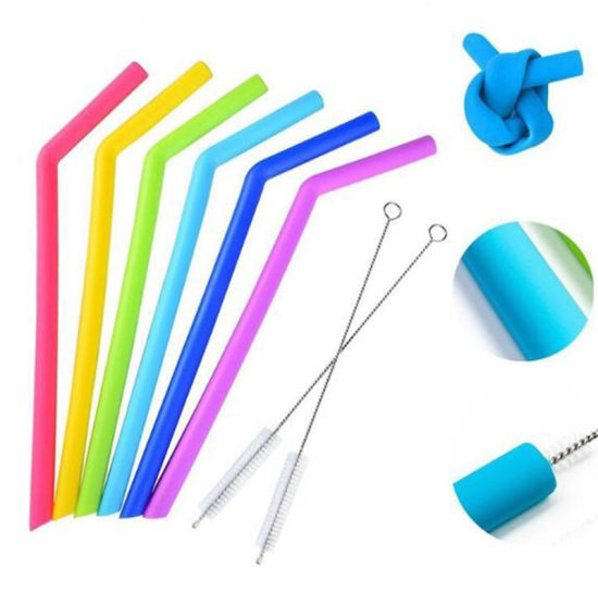 New 6PC Colorful Straight Smoothies BPA Free Non-Rubber Silicone Party Straw pictures & photos