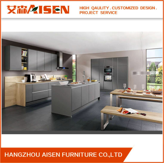 2018 Grey Color Lacquer Finish High Gloss Anti Scratch Kitchen Cabinets