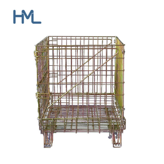 Supermarket Customed Transport Universal Movable Wire Mesh Container for Bottles Storage