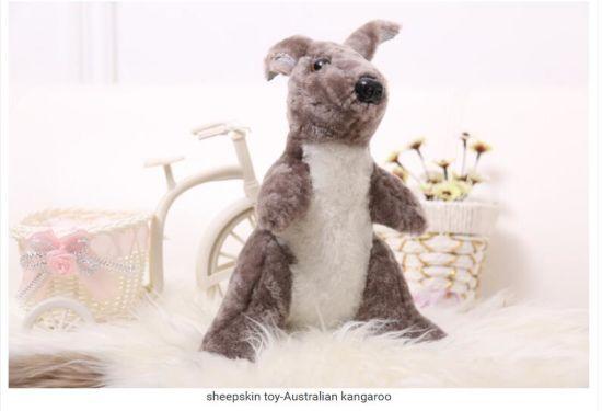 100% Real Sheepskin Kangaroo Animal Plush Toy for Kids