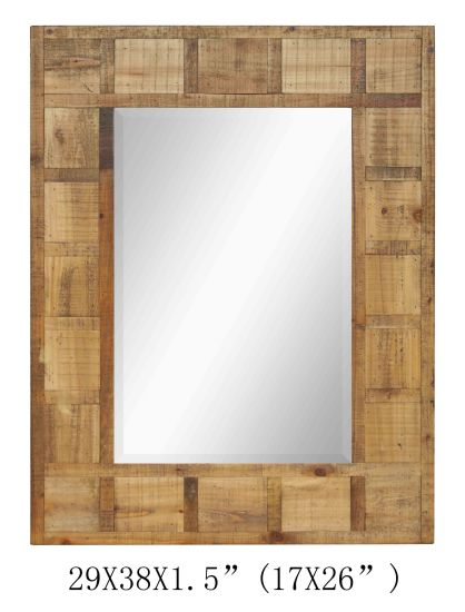 Wooden Frame Vintage Style Nutural Wood Wall Mirror pictures & photos