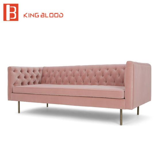 Nordic Style Furniture Tufted Upholstered Velvet Chesterfield Fabric Sofa Set pictures & photos