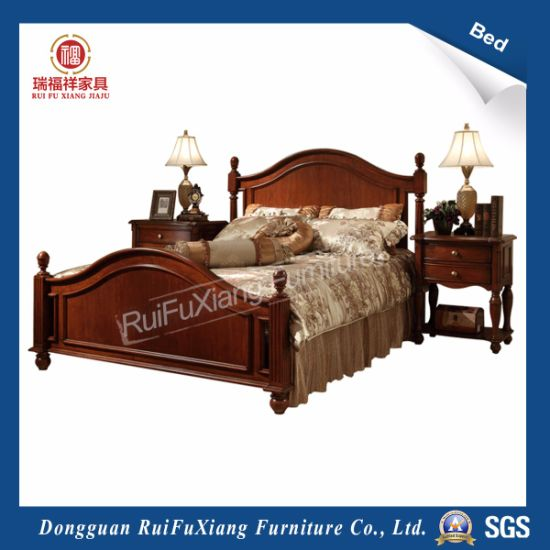 Rui Fu Xiang King Size Brown Country Style Eco Friendly Solid Wood Bed With Sgs Certificate B230