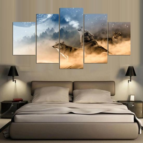 Hot Item Three Wolves In The Mountains Roar Modern Wall Painting Wolf Art Picture Paint On Canvas Home Decor For Living Room Im 08
