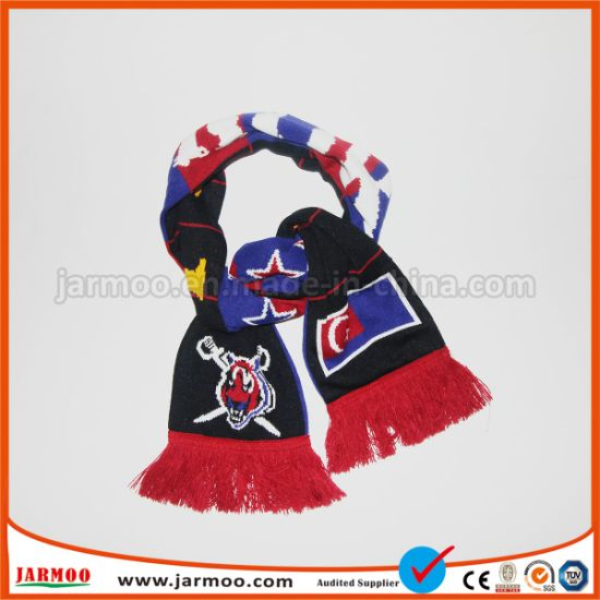 Knit Acrylic Promotion Scarf with Jacquard Logo pictures & photos