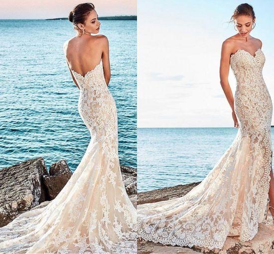 China Mermaid Wedding Dress Lace Size Split Bridal Gown W15247 ...