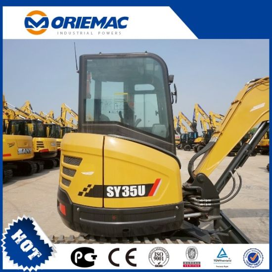 China Sany Mini Excavator 3 5ton Sy35u Zero Tail Excavator - China