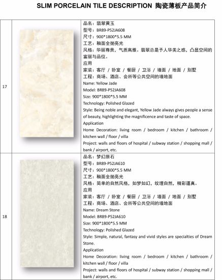 5 5mm Thickness Super Thin Slim Porcelain Tiles For Indoor Outdoor Wall Project 900 1800