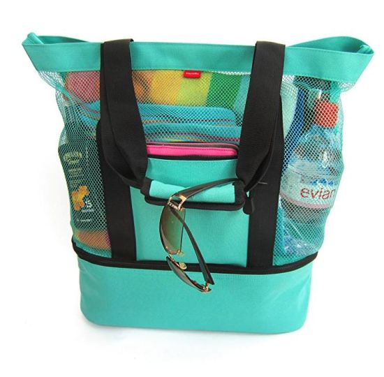 0665bea337c7 Zipper Top Mesh Beach Tote Bag with Insulated Cooler Bottom Compartment